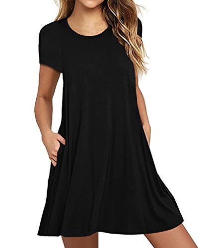 Mesitelin Women Short Sleeve Casual T-Shirt Dress Loose Summer Dress with Pockets (Black, L)