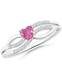 Angara Solitaire Pink Sapphire Bypass Promise Ring in 14K Yellow Gold CpMtG