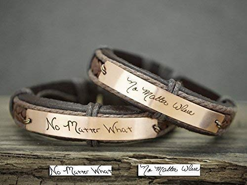 No Matter What Bracelet for Couples, Memorial Signature Handwriting, Friendship Wristlet, Brown Leather Copper Metal, No Matter Where
