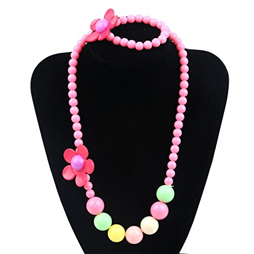 Unijew 5 Colors Kids Jewelry Fashion Jewelry for Girls Necklace Bracelet Set for Little Girls Children Jewelry Pendant with Gift Box Jewelry Box for Girls Pink