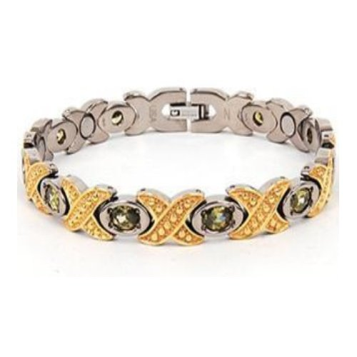 Titanium Bracelet with 9 Neodymium Magnets and 10 Peridot Stones - Reduces pain and stress. Improves sleep, energy and balance. High Power Magnetic Therapy. - 20% Off Limited Time Holiday Special - EJWJ-373B