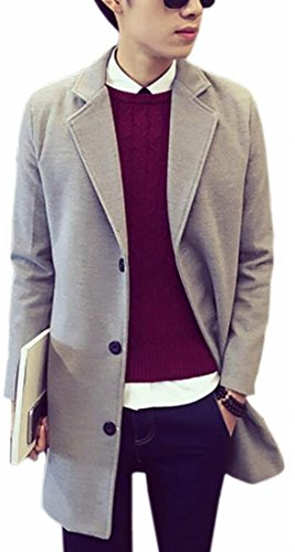 Single Grey Mens Trench Wool TTYLLMAO Breasted Lapel Notched Coat Blend Casual qdxxwtv8