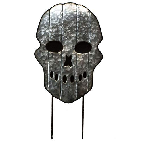 """(Large 26""""Galvanized Metal Scary Skull Yard Stake - Spooky Halloween Decoration - Front Yard Lawn Decoration, Garden and Walkway Metal Decor - A Haunted House Prop For Trick Or)"""