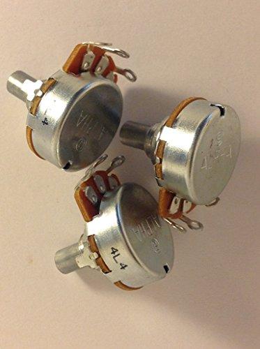 - 3 x Alpha 250K Audio Taper Pots Solid Shaft US Spec Bass / Guitar Potentiometers