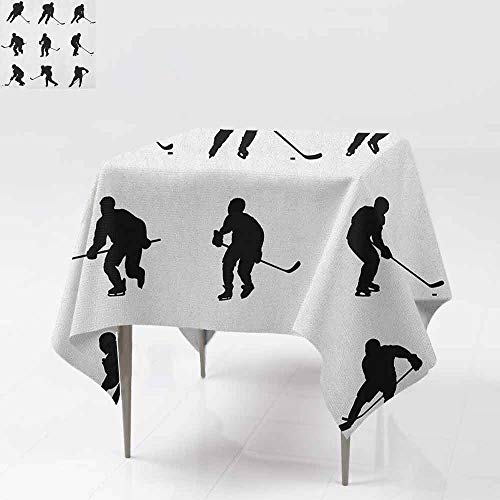 (DUCKIL Stain-Resistant Tablecloth Collection of Player Silhouettes in Black and White Different Positions with Sticks Picnic W54 xL54 Black)