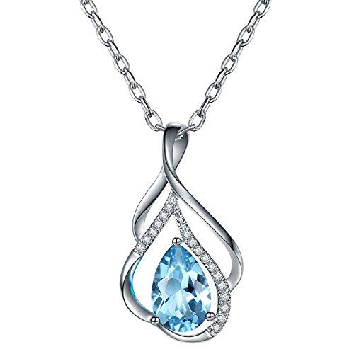 Hutang solide Or blanc 18ct 1,14CT Naturel aigue-marine et diamants Pendentif et collier NEUF pour femme fine Diamond-jewelry