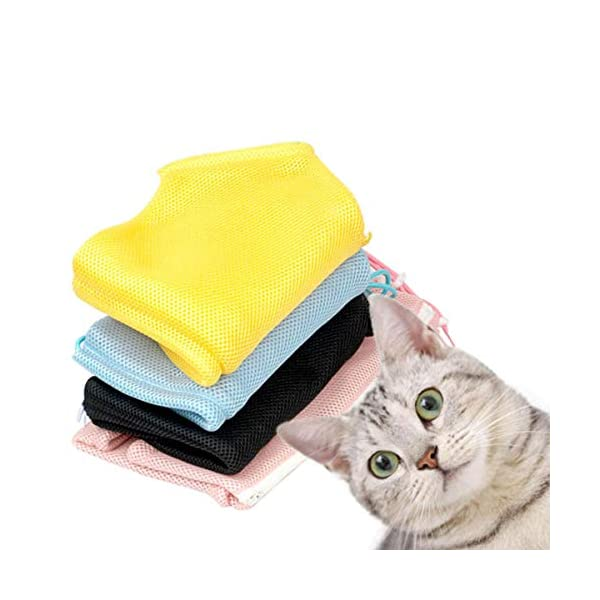 Adorrable Cat Grooming Bag Shower Mesh Bags Restraint for Bathing Injecting Examining Nail Trimming, Blue, 19.3/13.8″ Click on image for further info. 5