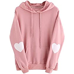 2017 3 Colors Womens Long Sleeve Heart Hoodie Sweatshirt Jumper Hooded Pullover Tops Blouse (M, Pink)