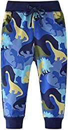 Boys Cartoon Dinosaur Print Cotton Pants Drawstring Elastic Sweatpants  4T height95-100cm 37-38inch   Blue   Dinosaur