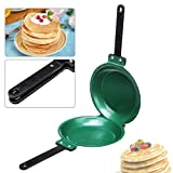 7.5 Inch Non stick Ceramic Pan SENREAL Double Side Pancake Maker Green Frying Pan for Cakes Pancake Toast Egg