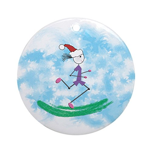 CafePress - Christmas Holiday Lady Runner Ornament (Round) - Round Holiday Christmas Ornament