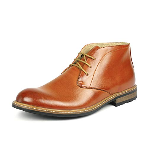 Bruno Marc Men's Bergen-02 Brown Leather Lined Oxfords Dress Ankle Boots - 10 M US ()