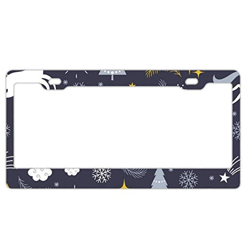 YEX Abstract Christmas Unicorn License Plate Frame Car Tag Frame Auto License Plate Holder 12