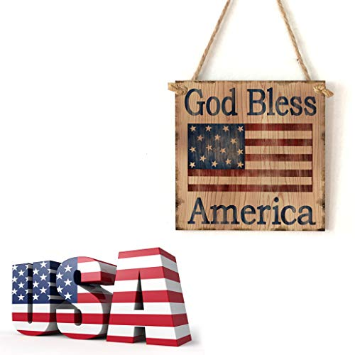 (VEZARON 4th of July Wooden Sign Plaque Door Wall Hanging Decorations,Independence Day Party Decorations,Faith Family Friends Freedom God Bless America (Multicolor, B))