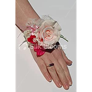 Pink Real Touch Rose Wedding Wrist Corsage w/ Fuchsia Sweetpea 2