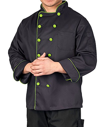 (KNG Executive Chef Coat with Contrast Piping and Buttons, Black with Lime Accent, 2XL)