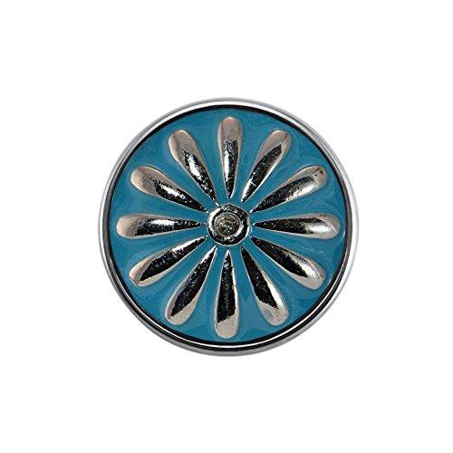 Quiges, Eligo Bijoux 18mm fleur bleue Inscription Bouton Pression pour Quiges, Eligo 18mm accrochage Bracelets Button