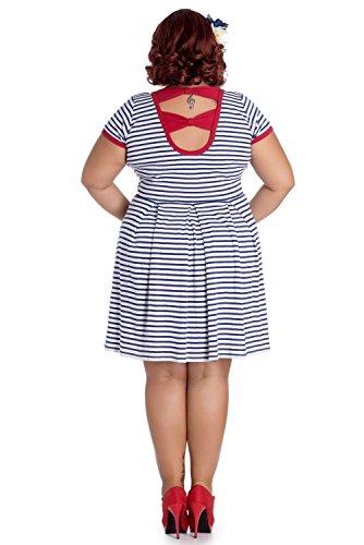 Vestito da patinatrice stile marinaio corto a righe Hell Bunny Marella