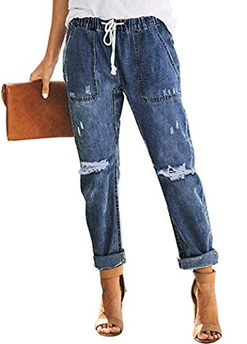 Sidefeel Women Distressed Pockets Denim Joggers Elastic Drawstring Waist Jeans Pants Small Blue