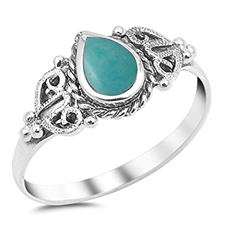Sterling Silver Simulated Turquoise Teardrop Shape Ring Sizes 8 - Turquoise Tear