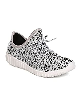 Wild Diva GA00 Women Fabric Knitted Lace Up Jogger Sneaker - Grey (Size: 5.5)