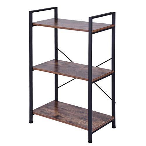 Ktyssp Open Narrow Bookshelf Antique Wood Color Metal Shelf Bookcase Storage Rack Retro Industrial Bookcase Two Specifications Bookcase (A:60x32x94cm)