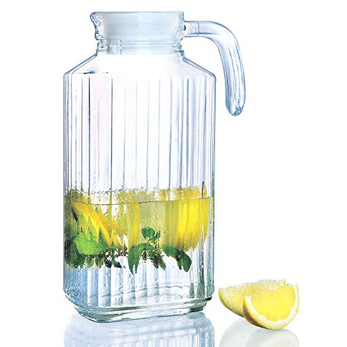 Glass Pitchers with White Lid and Spout 1.7-Liter (57 1/4-Ounce) | Ribbed Cut Design Fridge Door Pitcher | with Handle for Chilled Beverage Homemade Juice, Iced Tea or Water- Luminarc for James Scott ()