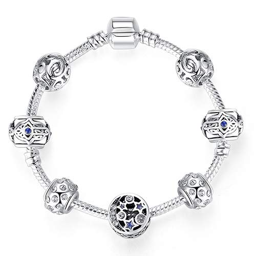 Original Silver 925 Crystal Four Leaf Clover Bracelet With Clear Glass Beads Charm Bracelet Bangle For Women DIY Jewelry PS3860 17cm