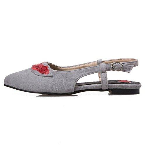 COOLCEPT Mujer Casual sin Cordones Sandalias Plano Tacon Poco Slingback Cerrado Zapatos Tamano Gris
