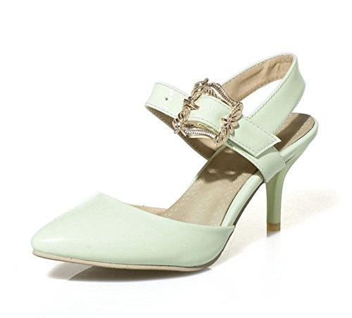 Aisun Damen Elegante Lack Spitz Geschlossene Zehe Schönes Knöchelriemchen Stiletto Sandalen Grün 42 EU 0icpvyQzUU