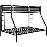 DHP Rockstar Metal Bunk Bed, Twin-Over-Full - Black