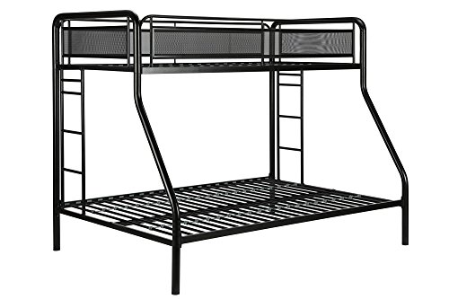DHP Rockstar Metal Bunk Bed Frame, Sturdy Metal Design, Twin-Over-Full - - Bunk Bed Metal Black Futon