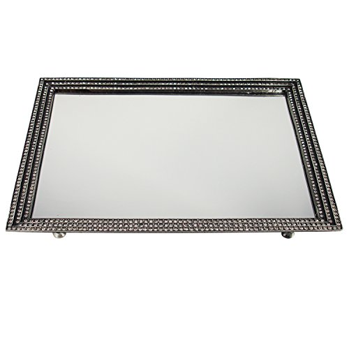 - Vintage Silver Tone Vanity Mirror Tray with Three Lined Beautiful Genuine Crystal Embellished Border. Elegant Design