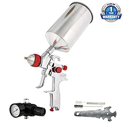 TCP Global Brand Professional HVLP Spray Gun with 1.4mm Fluid Tip and Regulator