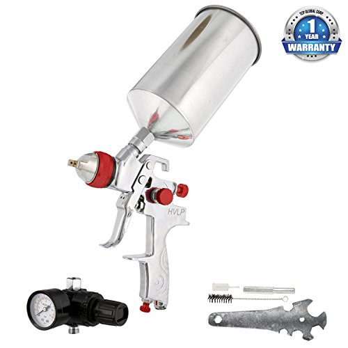 TCP Global Professional Gravity Feed HVLP Spray Gun with a