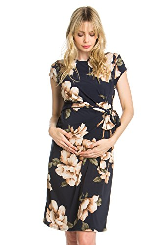 My Bump Women's Various Print Side Bow Tie Cap Sleeve Maternity Dress(Made in USA) (Medium, Navy#2 Flower) Sleeve Maternity Dresses