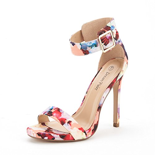 DREAM PAIRS ELEGANTEE Women's Evening High Heels Open Toe Ankle Strap Platform Casual Stiletto Pumps Sandals FLORAL SIZE 6.5