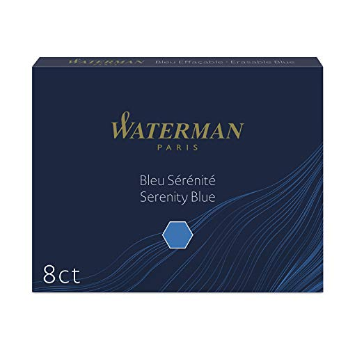 Waterman Fountain Pen Ink Cartridges, Long, Serenity Blue, 8 Count