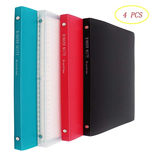 4pcs Spiral Notebooks,Assorted Color Covers Binder Note B5 size Holes,20 Sheets