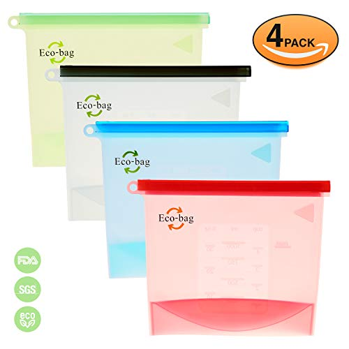 Reusable Silicone Snack Sandwich Food Bags - Ziplock Container - Preservation Storage Container for Kitchen Lunch | Freezer Bag - Microwave Dishwasher Safe Instant Pot Accessories | 4 Pack