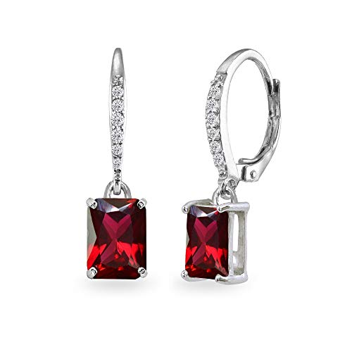 - Sterling Silver Created Ruby & Cubic Zirconia 8x6mm Octagon-cut Polished Dangle Leverback Earrings