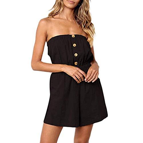 Aniywn Women Strapless Off Shoulder Short Rompers Jumpsuit Casual Button Summer Beachwear Jumpsuits Black