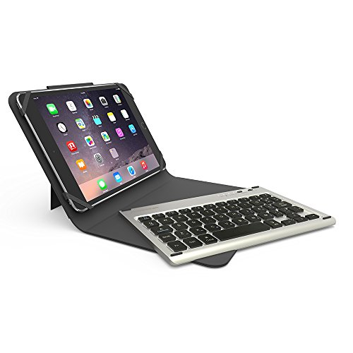 PureGear Universal 10 inch Folio Wireless Bluetooth Keyboard Slim Folding Leather Tablet Case Cover w/ Kickstand, Removable Backlit Keyboard for iPad / Pro 9.7