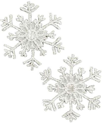 Expo International Christmas Medium Branch Snowflake Iron-on Applique Trim Embellishment, Silver, 2-Pack MH5011
