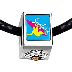 Chicforest Silver Plated Guy Surfing Yellow Photo Topaz Crystal November Birthstone Flower Charm Beads Fits Pandora Bracelets