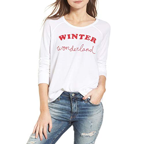 (SUNDRY Women's Winter Wonderland Sweatshirt, White,1/Small)