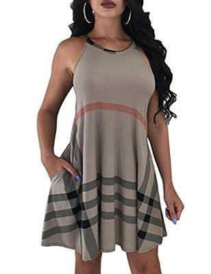 JYAOVO Womens Plaid Print Sleeveless Irregular Hem Casual Shirt Dress with Pocket