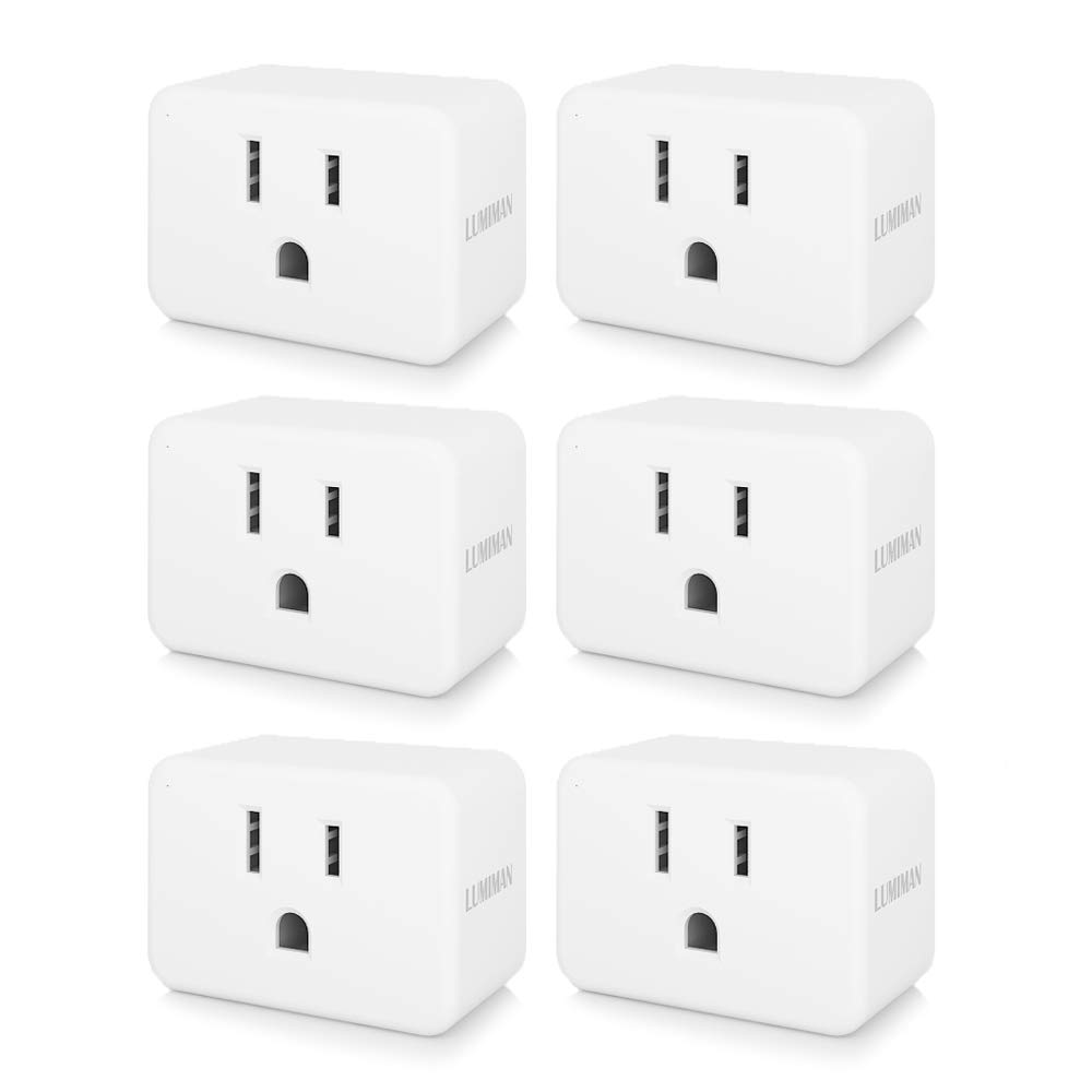 Smart Plug Mini Enabled WiFi Outlet Socket, Compatible With Alexa and Google Home Assistant, No Hub Required, LUMIMAN 6 Pack