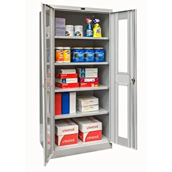 Amazon com: Office Supply Cabinet with Clear Doors, (4' 0