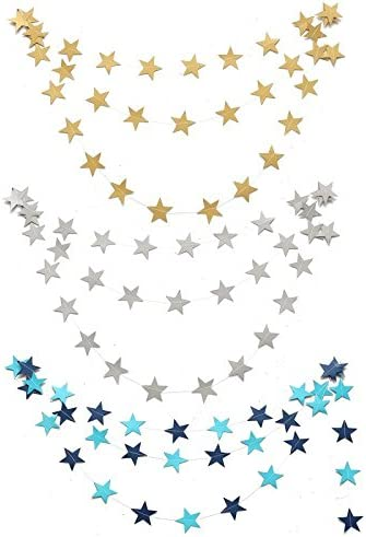 Spaufu Bunting Paper Star Garlands Hanging Wall Decoration Wedding Party Home Girls Bedroom Decorative Bunting Banners Home Garden Party Decoraton